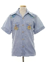 Mens Embroidered Chambray Hippie Style Sport Shirt