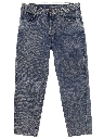 Mens Tapered Leg Acid Wash Denim Jeans Pants