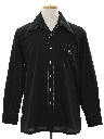 Mens Cotton Blend Solid Disco Style Sport Shirt
