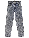 Mens/Boys Totally 80s Acid Washed Tapered Leg Denim Jeans Pants