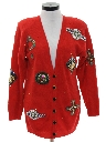 Womens Totally 80s Beaded Cardigan Sweater