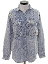 Womens Totally 80s Acid Washed Denim Shirt