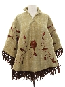 Womens Embroidered Hippie Poncho Jacket