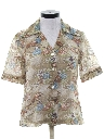 Womens Cotton Blend Print Disco Style Sport Shirt
