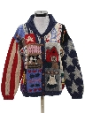 Womens Totally 80s Cheesy Kitschy Ugly Cardigan Sweater