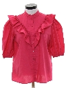 Womens Ruffled Front Totally 80s Secretary Shirt