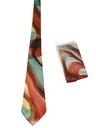 Mens wide Swing Abstract Necktie/Hankerchief