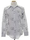 Mens Print Cotton Blend Disco Shirt