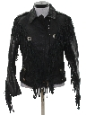 Womens Totally 80s Fringe Leather Motorcycle Style Jacket