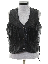Womens Wicked 90s Fringed Motorcycle Leather Vest Jacket