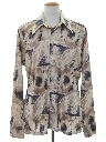 Mens Shiny Nylon Print Disco Shirt