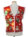 Womens Hand Embellished Multicolor Lightup Ugly Christmas Sweater Vest