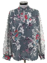 Womens Print Disco Style Secretary Shirt