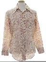 Mens Print Disco Style Cotton Blend Hippie Shirt