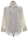 Mens Subtle Print Disco Style Cotton Blend Shirt
