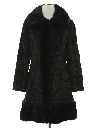 Womens Mod Faux Fur Duster Coat Jacket