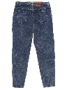 Womens Totally 80s High Waisted Tapered Leg Acid Wash Denim Jeans Pants