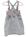 Womens Acid Washed Denim Mini Skirt Romper
