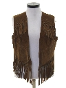 Womens Suede Leather Fringed Hippie Vest