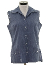 Womens Chambray Sleeveless Shirt