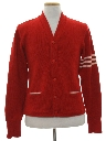 Mens Letterman Style Cardigan Sweater