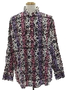 Mens Print Hippie Style Western Shirt