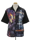 Mens Totally 80s Graphic Print Club/Rave Sport Shirt
