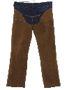 Mens Flared Jeans Denim Western Faux Chaps Pants