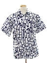 Mens Mod Op-Art Print Disco Shirt
