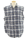 Mens Sleeveless Grunge Joe Dirt Style Flannel Shirt