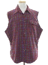 Mens Grunge Cut Off Sleeveless Flannel Shirt