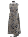 Womens Mod Barkcloth Hawaiian Maxi Dress