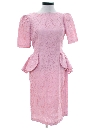 Womens Totally 80s Pretty in Pink Lace Prom Dress
