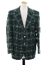 Mens Plaid Disco Style Golf Blazer Sport Coat Jacket