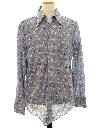 Mens Shiny Nylon Print Disco Shirt