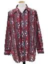 Mens Geometric Southwestern Print Western Shirt