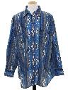 Mens Southwestern Style Geometric Print Western Shirt