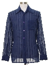 Mens Sheer Subtle Print Disco Style Sport Shirt