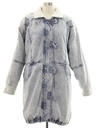 Womens Totally 80s Acid Washed Denim Car Coat Jacket