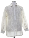 Mens Hippie Style Banana Fiber Sheer Tunic Shirt