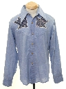 Mens Hippie Style Chambray Western Shirt