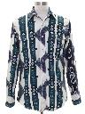 Mens Geometric Print Southwestern Style Flannel Western Shirt