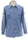 Mens Denim Safari Shirt Jacket