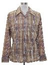 Mens Plaid Print Disco Shirt