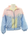 Womens Totally 80s Style Windbreaker Zip Jacket