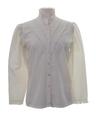 Womens Prairie Style Ruffled Front Secretary Shirt