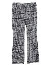 Mens Plaid Knit Flared Leisure Style Pants