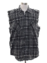 Mens Grunge Cut Off Sleeveless Joe Dirt Style Flannel Shirt