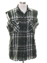 Unisex Grunge Cut Off Sleeveless Joe Dirt Style Flannel Shirt