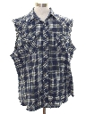 Mens Grunge Cut Off Sleeveless Joe Dirt Style Western Flannel Shirt